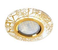Ecola MR16 DL1654 GU5.3 Glass Стекло Круг граненый Золото на белом / Золото 25x90 (кd74)