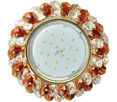 Ecola GX53 H4 Glass Круглый с хрусталиками прозрачный и янтарь/ золото 56x120 - Олимп-Зеленоград