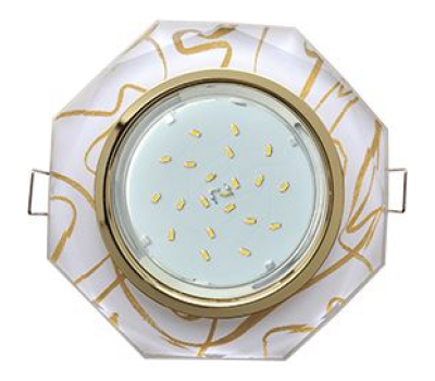 Ecola GX53 H4 Glass Стекло 8-угольник с прямыми гранями золото - золото на белом 38x133 - Олимп-Зеленоград