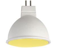 Ecola MR16   LED color  7,0W  220V GU5.3 Yellow Желтый матовое стекло (композит) 47х50 - Олимп-Зеленоград