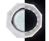 Ecola GX53 H4 LD5312 Glass Стекло 8-угольник с прямыми гранями с подсветкой  хром - матовый 38x133 (к+) - Олимп-Зеленоград