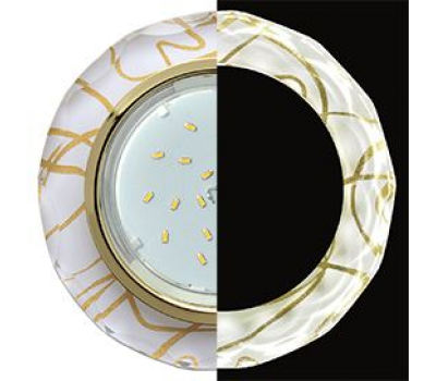 Ecola GX53 H4 LD5313 Glass Стекло Круг с вогнутыми гранями с подсветкой  золото - золото на белом 38x126 (к+) - Олимп-Зеленоград