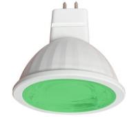Ecola MR16   LED color  9,0W  220V GU5.3 Green Зеленый (насыщенный цвет) прозрачное стекло (композит) 47х50 - Олимп-Зеленоград