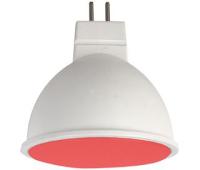 Ecola MR16   LED color  7,0W  220V GU5.3 Red Красный матовое стекло (композит) 47x50 - Олимп-Зеленоград