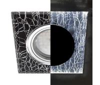 Ecola MR16 LD1651 GU5.3 Glass Стекло с подсветкой Квадрат скошенный край Колотый лед на черном / Хром 25x90x90 (кd74) - Олимп-Зеленоград