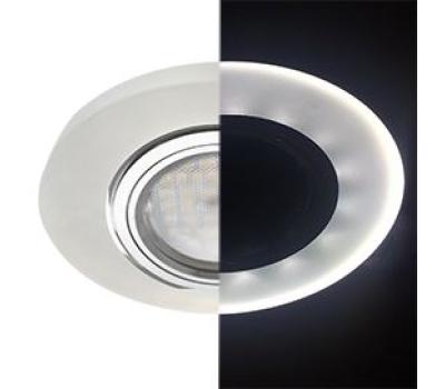 Ecola MR16 LD1650 GU5.3 Glass Стекло с подсветкой Круг Матовый / Хром 25x95 (кd74) - Олимп-Зеленоград