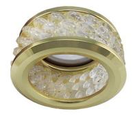 Ecola MR16 DL1655 GU5.3 встр. круглый с хруст.(3 ряда) и ободком - Прозрачный / Золото 63x85 - Олимп-Зеленоград