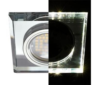 Ecola MR16 LD1651 GU5.3 Glass Стекло с подсветкой Квадрат скошенный край Хром / Хром 25x90x90 (кd74) - Олимп-Зеленоград