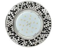 Ecola GX53 H4 5319 Glass Круг с  прозр.-черной мозаикой/фон зерк./центр.часть хром 40x123x123 (к+) - Олимп-Зеленоград