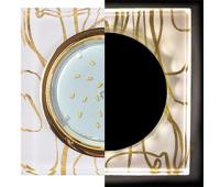 Ecola GX53 H4 LD5311 Glass Стекло Квадрат скошенный край с подсветкой  золото - золото на белом 38x120x120 (к+) - Олимп-Зеленоград