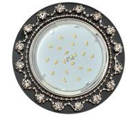 Ecola GX53 H4 5360 Glass Круг с  прозрачными стразами Корона (оправа хром)/фон черн./центр.часть хром 52x120 (к+) - Олимп-Зеленоград