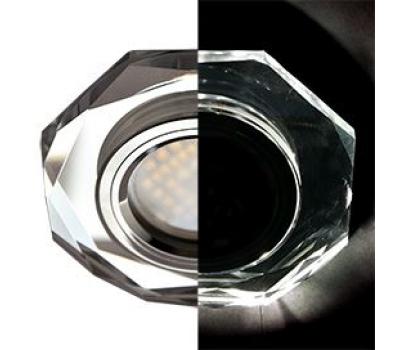 Ecola MR16 LD1652 GU5.3 Glass Стекло с подсветкой 8-угольник с прямыми гранями Хром / Хром 25x90 (кd74) - Олимп-Зеленоград