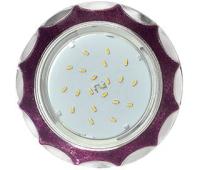 Ecola GX53 H4 DL3902 светильник встраив. без рефл.  Звезда под стеклом Фиолетовый блеск / хром 106х38 (к+) - Олимп-Зеленоград