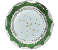 Ecola GX53 H4 DL3902 светильник встраив. без рефл.  Звезда под стеклом Изумрудный блеск / хром 106х38 (к+) - Олимп-Зеленоград