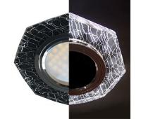 Ecola MR16 LD1652 GU5.3 Glass Стекло с подсветкой 8-угольник с прямыми гранями Колотый лед на черном / Хром 25x90 (кd74) - Олимп-Зеленоград
