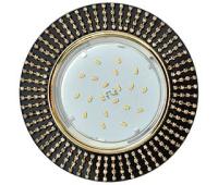 Ecola GX53 H4 5364 Glass Круг с прозр.стразами (оправа золото)/фон черн./центр.часть золото 40x120 (к+) - Олимп-Зеленоград