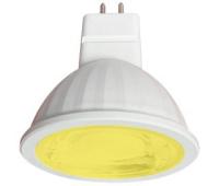 Ecola MR16   LED color  9,0W  220V GU5.3 Yellow Желтый (насыщенный цвет) прозрачное стекло (композит) 47х50 - Олимп-Зеленоград