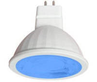 Ecola MR16   LED color  9,0W  220V GU5.3 Blue Синий (насыщенный цвет) прозрачное стекло (композит) 47х50 - Олимп-Зеленоград