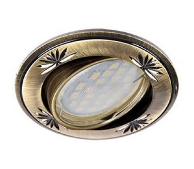 Ecola MR16 DL21 GU5.3 Светильник встр. литой поворотный искр.гравир. Четыре цветка Черненая бронза 23x84 - Олимп-Зеленоград