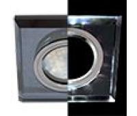 Ecola MR16 LD1651 GU5.3 Glass Стекло с подсветкой Квадрат скошенный край Черный / Черный хром 25x90x90 (кd74) - Олимп-Зеленоград