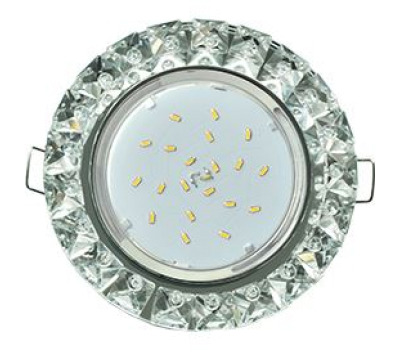Ecola GX53 H4 Glass Круг с крупными стразами Конус/фон зерк./центр.часть хром 52x120 - Олимп-Зеленоград