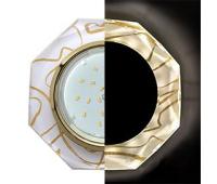 Ecola GX53 H4 LD5312 Glass Стекло 8-угольник с прямыми гранями с подсветкой  золото - золото на белом 38x133 (к+) - Олимп-Зеленоград