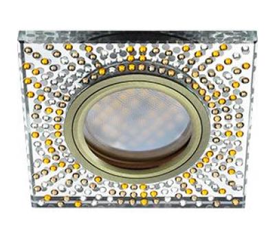 Ecola MR16 DL1658 GU5.3 Glass Стекло Квадрат с  прозр.-янтарной мозаикой/фон зерк../центр.часть черненая бронза 25x95x95 - Олимп-Зеленоград