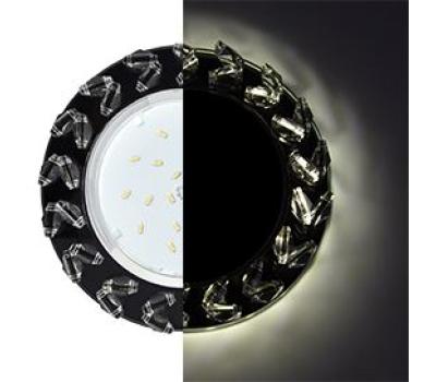 Ecola GX53 H4 LD5361 Glass Круг с крупными  прозр. стразами Елочка с подсветкой/фон черн./центр.часть хром 54x120 (к+) - Олимп-Зеленоград