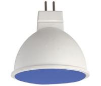 Ecola MR16   LED color  7,0W  220V GU5.3 Blue Синий матовое стекло (композит) 47х50 - Олимп-Зеленоград