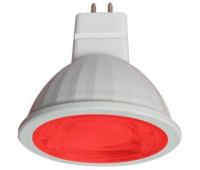 Ecola MR16   LED color  9,0W  220V GU5.3 Red Красный (насыщенный цвет) прозрачное стекло (композит) 47x50 - Олимп-Зеленоград