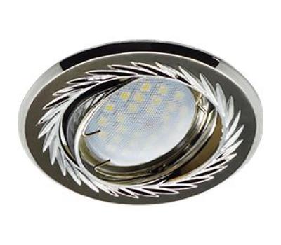 Ecola MR16 KL6A GU5.3 Светильник встр. литой поворотный искр.гравир. Листья по кругу Черный Xром/Хро - Олимп-Зеленоград
