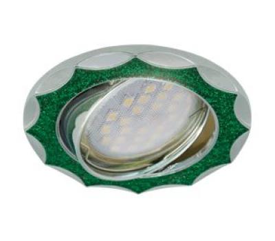 НОВИНКА!Светильник Ecola MR16 DL36 GU5.3 встр. литой поворотный Звезда под стеклом Изумрудный блеск/Хром 22х84 - Олимп-Зеленоград