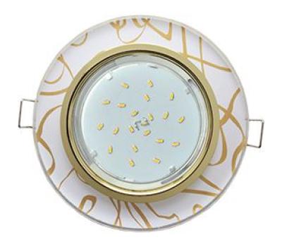 Ecola GX53 H4 Glass Стекло Круг  золото - золото на белом 38x126 - Олимп-Зеленоград