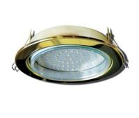 Встраиваемый потолочный точечный светильник-спот Экола GX70 H5 без рефлектора. Золото. - Олимп-Зеленоград