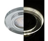 Ecola MR16 LD1650 GU5.3 Glass Стекло с подсветкой Круг Хром / Хром 25x95 (кd74) - Олимп-Зеленоград