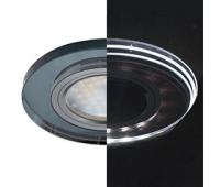Ecola MR16 LD1650 GU5.3 Glass Стекло с подсветкой Круг Черный / Черный хром 25x95 (кd74) - Олимп-Зеленоград