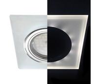 Ecola MR16 LD1651 GU5.3 Glass Стекло с подсветкой Квадрат скошенный край Матовый / Хром 25x90x90 (кd74) - Олимп-Зеленоград