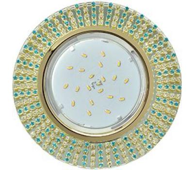 Ecola GX53 H4 Glass Круг с прозр. и бирюз. страз. (оправа золото)/ фон зерк./центр  золото 40x120 - Олимп-Зеленоград