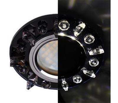 Ecola MR16 LD1661 GU5.3 Glass Стекло Круг с квадратными прозрачными стразами с подсветкой/фон черн./центр.часть хром 42x95 - Олимп-Зеленоград