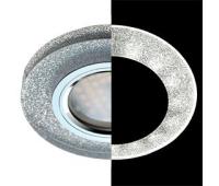 Ecola MR16 LD1650 GU5.3 Glass Стекло с подсветкой Круг Серебряный блеск / Хром 25x95 (кd74) - Олимп-Зеленоград