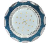 Ecola GX53 H4 DL3902 светильник встраив. без рефл.  Звезда под стеклом Голубой блеск / хром 106х38 (к+)