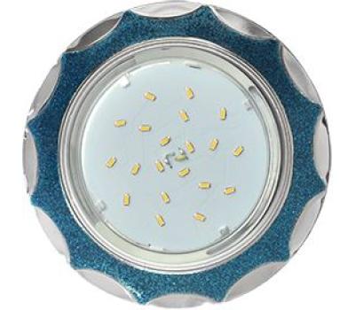 Ecola GX53 H4 DL3902 светильник встраив. без рефл.  Звезда под стеклом Голубой блеск / хром 106х38 (к+) - Олимп-Зеленоград