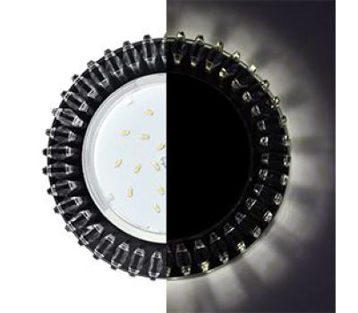 Ecola GX53 H4 LD5361 Glass Круг с прозр. стразами Гребенка с подсветкой/фон черн./центр.часть хром 52x120 (к+) - Олимп-Зеленоград